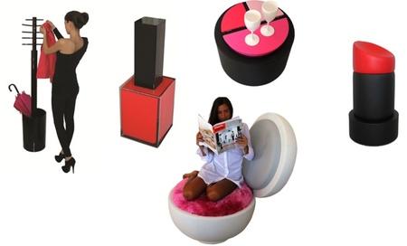 Muebles con forma de productos cosméticos