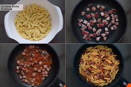 Pasta con atún fresco y salsa de tomate picante. Pasos