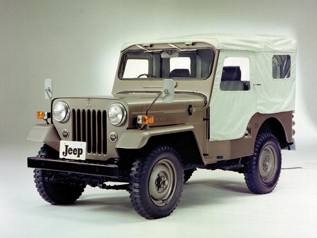 mitsubishi jeep el willys que llevaba un logo con tres