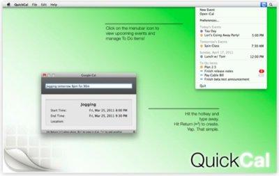 QuickCal, crea eventos en iCal de forma más rápida