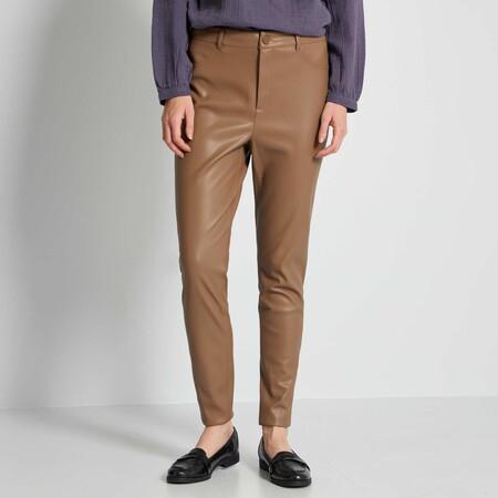 Pantalon De Material Sintetico Marron Mujer Talla 34 A 48 Ym063 2 Zc2