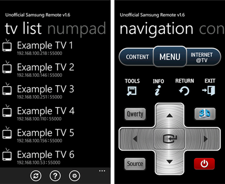 Unofficial Samsung Remote, controla tu Smart TV desde Windows Phone
