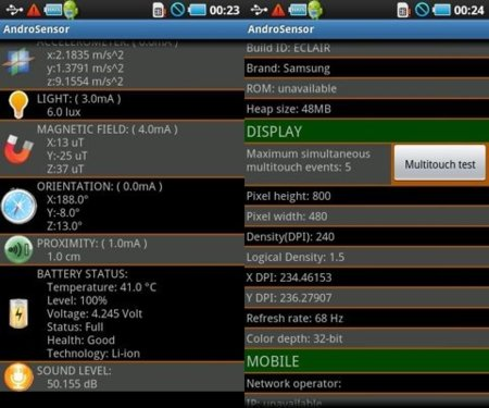 AndroSensor Android