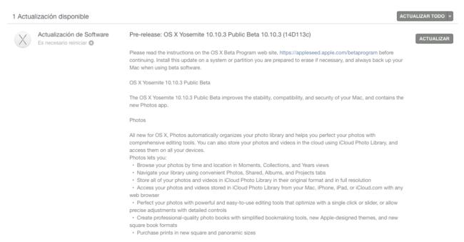 Tenemos nueva beta de OS X Yosemite 10.10.3
