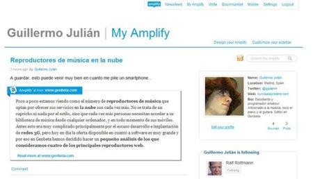 Así es la página de perfil de Amplify. Simple y funcional.