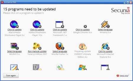 Detección de programas pendientes de actualización