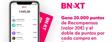 Promoción Bnext para Compradicción: 20 euros al pedir la tarjeta y doble recompensa al hacer compras en Amazon hasta el 31 de mayo
