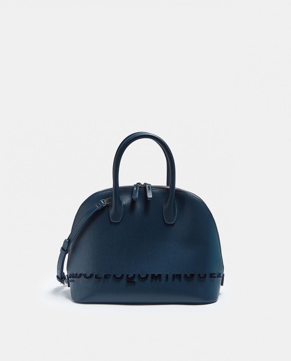 Bolso de mano de mujer de Adolfo Dominguez con cierre de cremallera azul