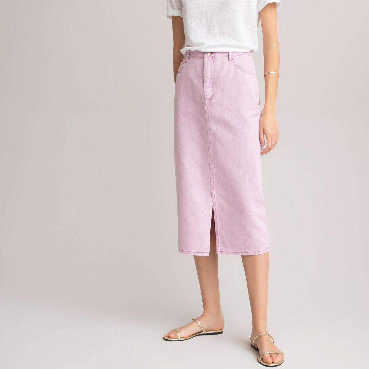 Falda recta de algodón orgánico, largo midi