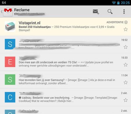 Anuncios Gmail para Android