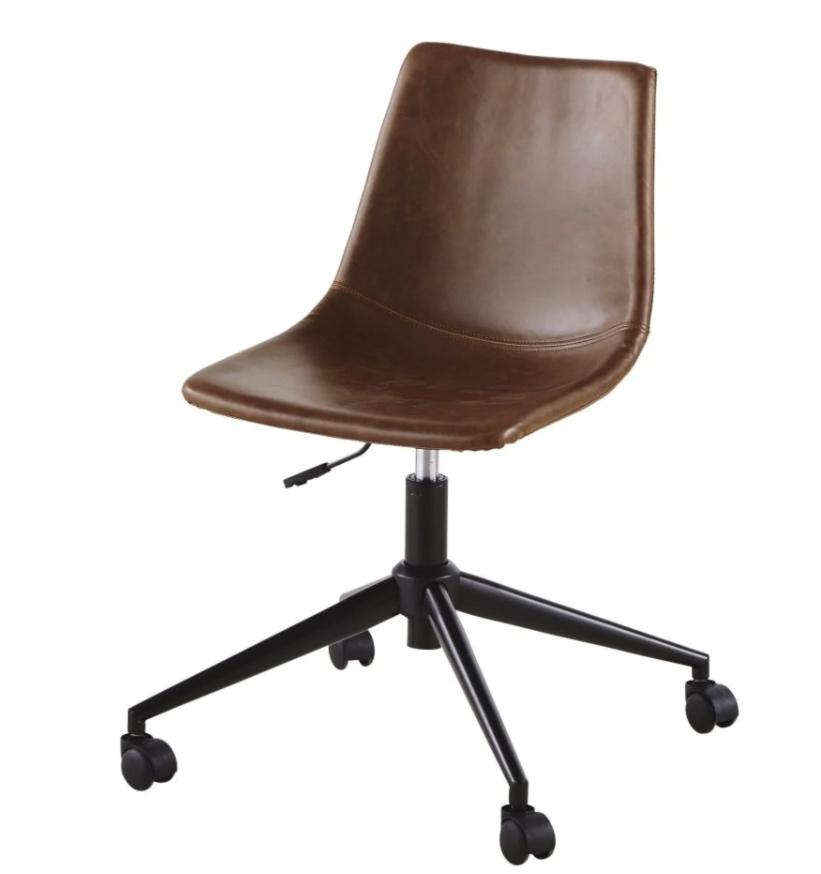 Silla de escritorio con ruedas de suedina marrón efecto envejecido