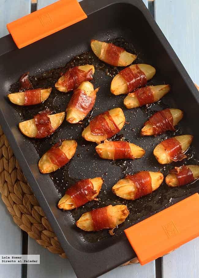Gajos de patata envueltos en jamón. Receta