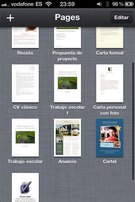 iWork Pages Gestión de documentos