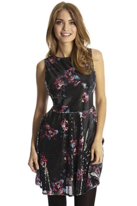 vestido floral lentejuelas only