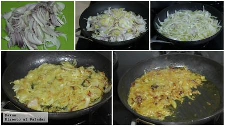 confitando la cebolla tortilla de San Isidro