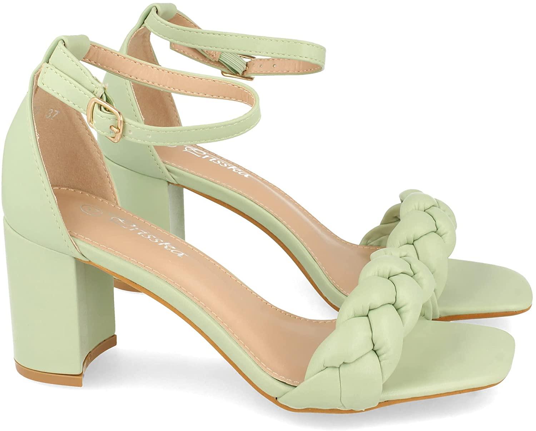 Sandalia de Tacon para Mujer, Comodas, con Pala Entrelazada, y Cierre Ankle Strap de Hebilla, Primavera Verano 2021