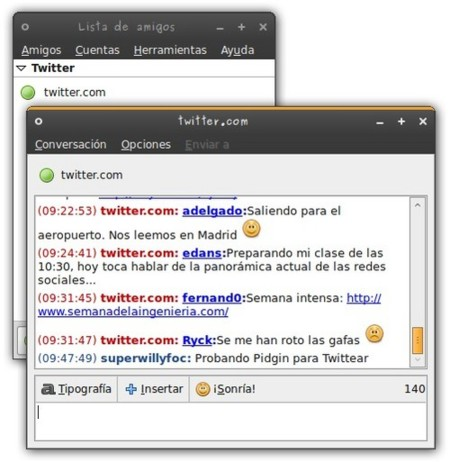 Microblog-Purple: Twitter integrado en Pidgin