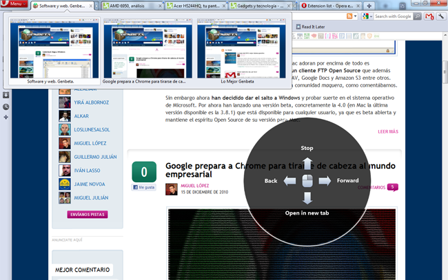 Opera 11 con el Tab Stacking y los gestos visuales.