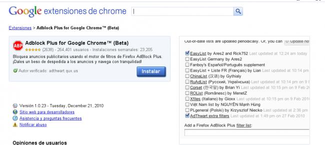 instalar adblock chrome