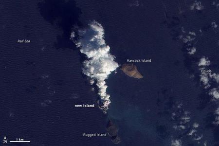 Visto desde el espacio: Erupción volcánica crea una nueva isla en el Mar Rojo