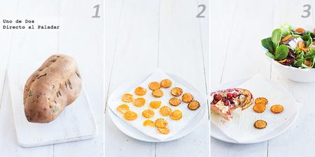 Receta de ensalada con chips de boniato paso a paso