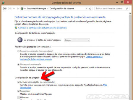 Configurar apagado en Windows 8