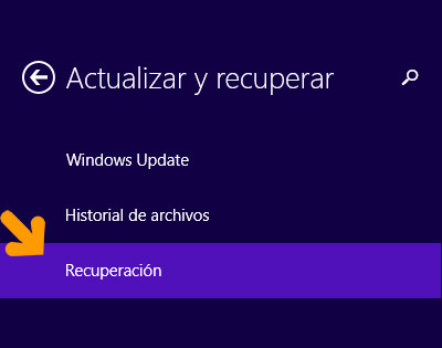 restaurar sistema windows 8 paso 3