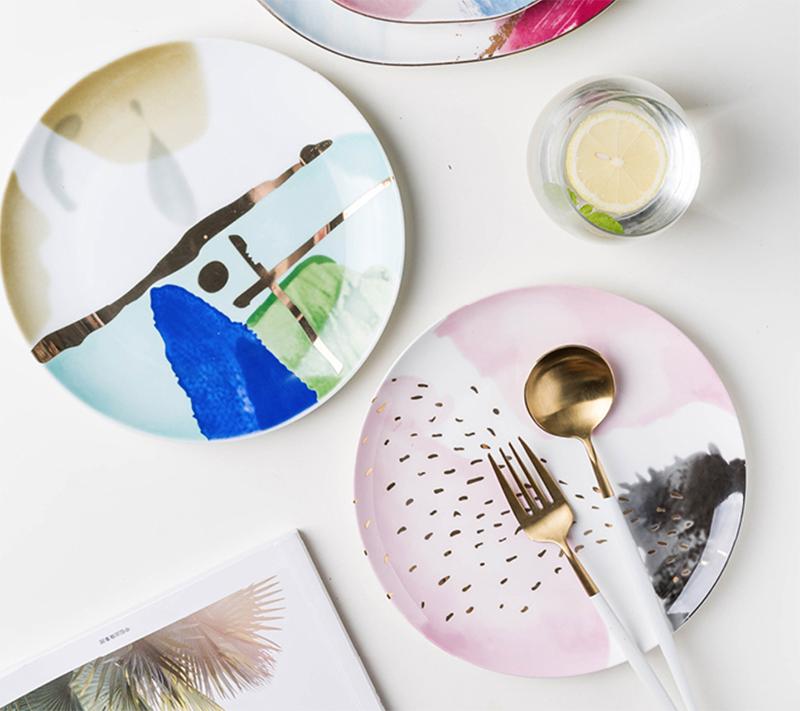 EECAMAIL Ins estilo colorido hogar vajilla de cerámica occidental plato postre bandeja Snack plato de estilo occidental