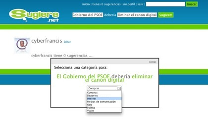 Sugiere.net, portal de sugerencias español
