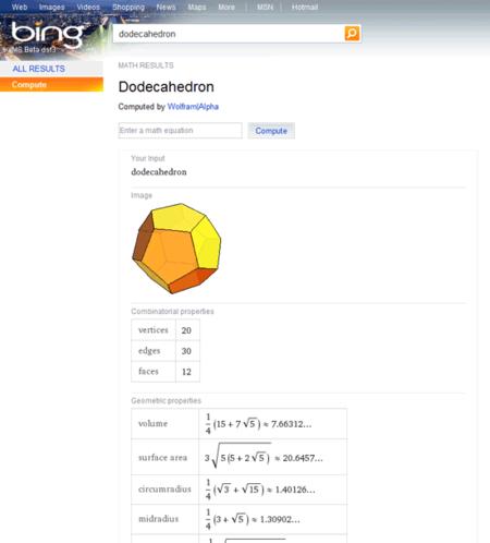 Dodecaedro, resultados en Bing