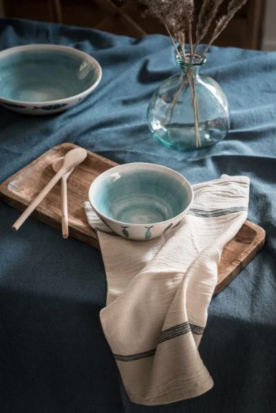 Bol De Loza Blanca Y Azul Claro Con Estampado De Peces Lacanau