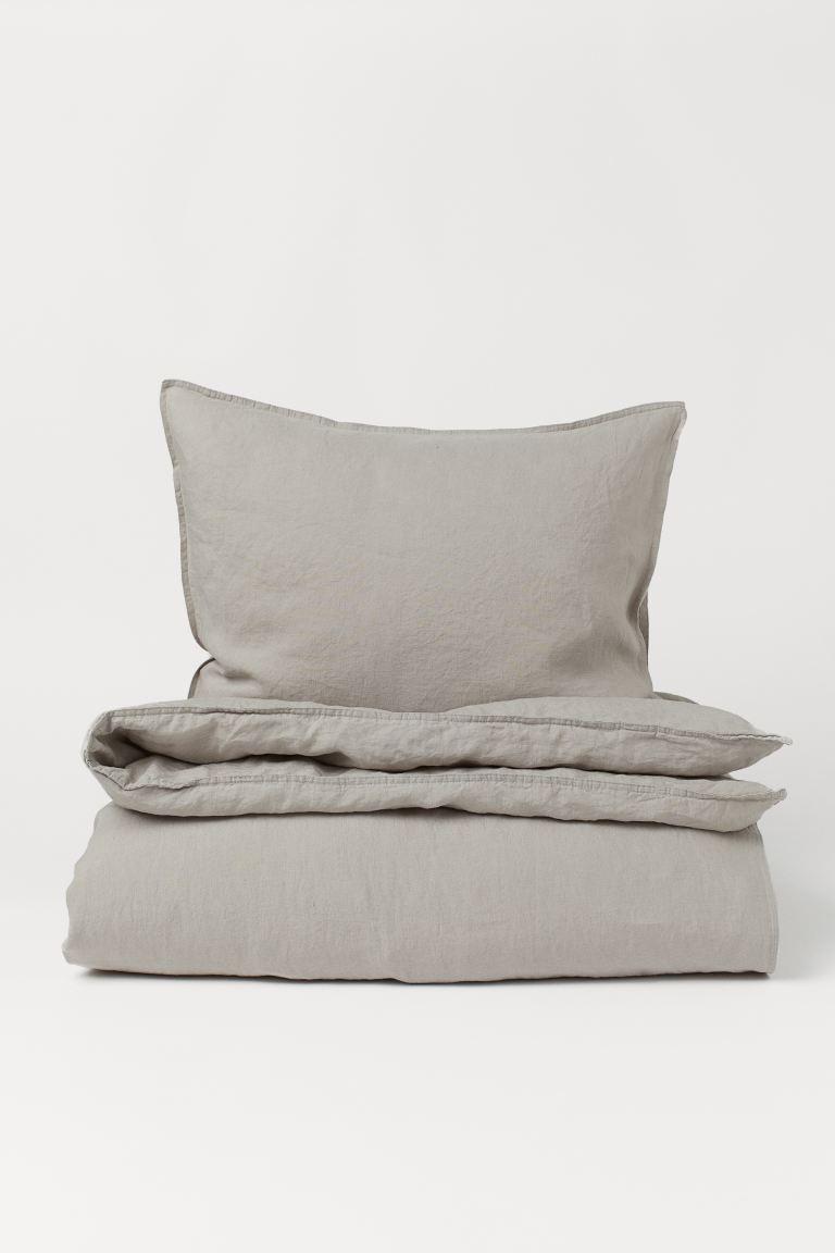 Funda nórdica en lino lavado para cama individual (tamaño 150 x 200)