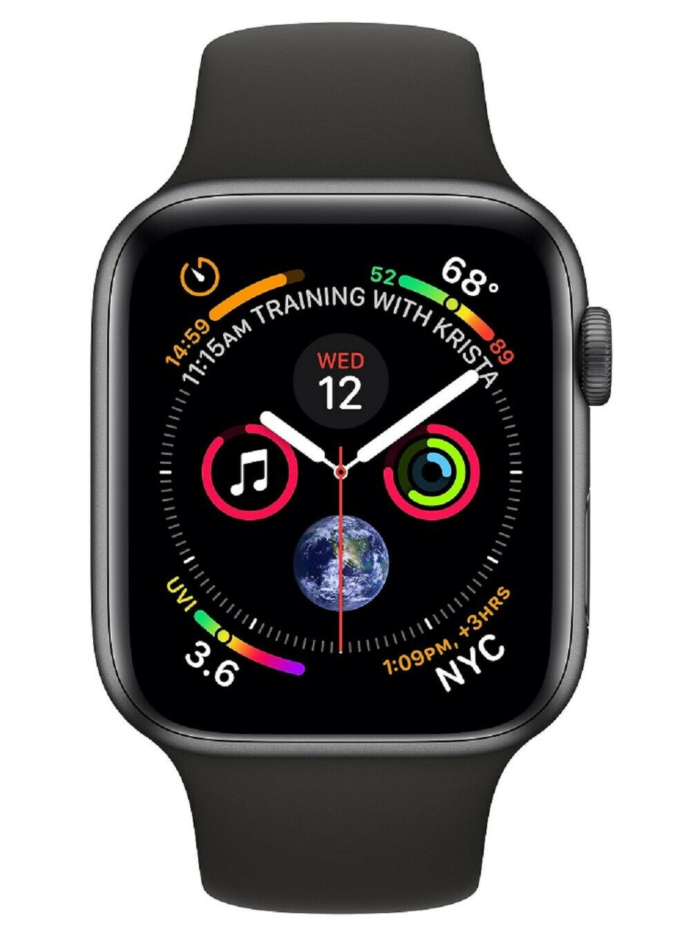 Apple Watch Series 4 40mm GPS Caja de Aluminio Gris y Correa Deportiva Negra