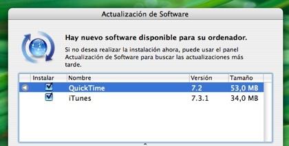 Actualizaciones de iTunes 7.3.1 y Quicktime 7.2 (ahora a pantalla completa)