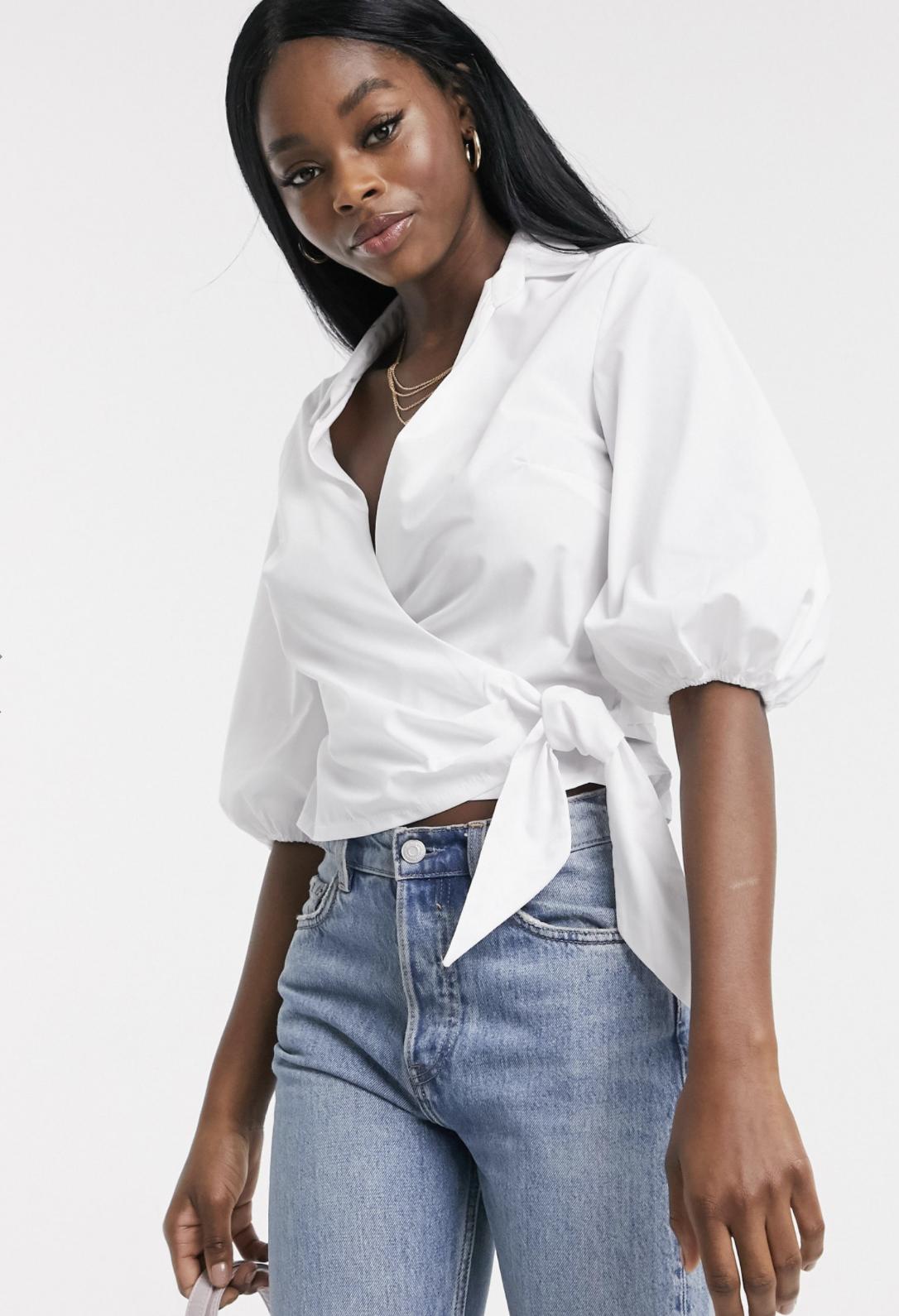 Camisa cruzada de algodón en blanco de Miss Selfridge
