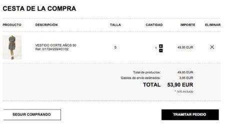 Zara estrena su tienda online. Cesta compra