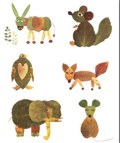 Animales con hojas de otoño