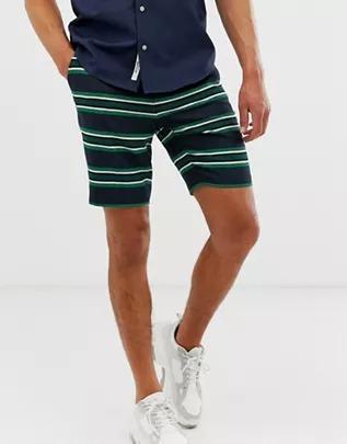 Pantalones cortos de vestir y corte slim en azul marino a rayas de ASOS DESIGN