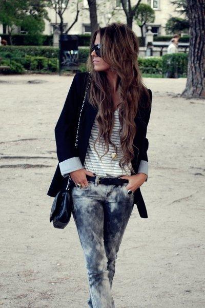 blazer negro vaqueros