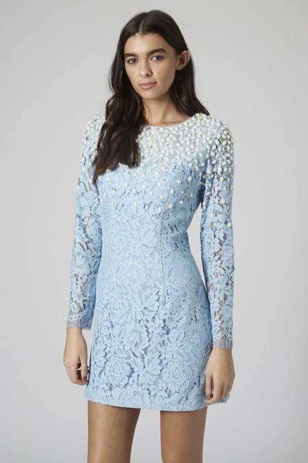 Vestido Encaje Azul Celeste Topshop