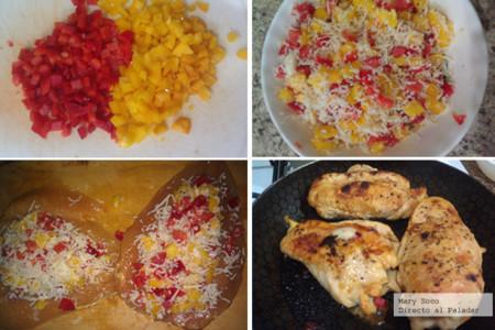 Pechugas rellenas de queso y pimientos pasos