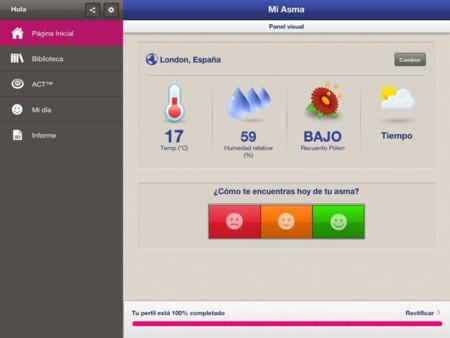 Pantallazo de la aplicación en el iPad