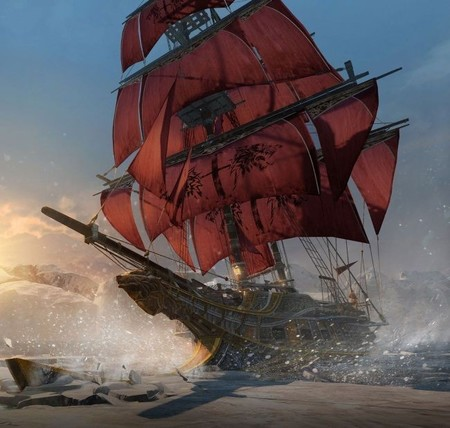 Aquí tenemos el navío Morrigan, de Assassin's Creed Rogue, al detalle y con su aceite inflamable