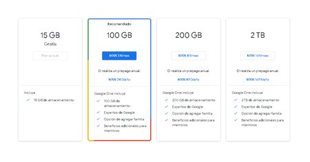 Google One Planes Pago Almacenamiento Nube