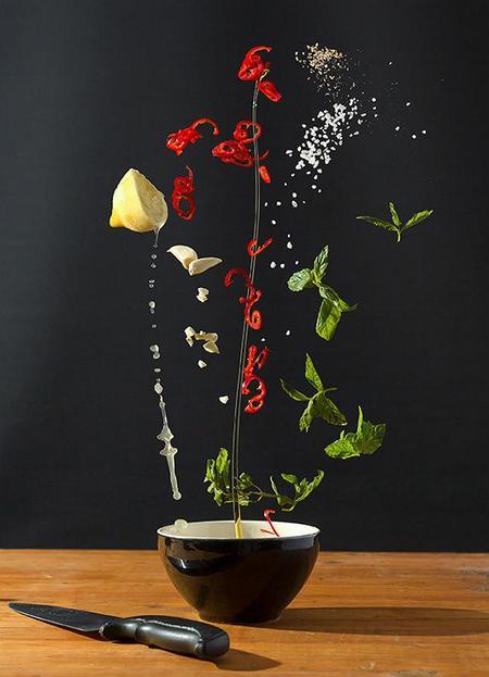 Ingredientes de recetas capturados con fotografías de alta velocidad