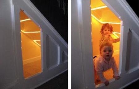 escalera renovada niños