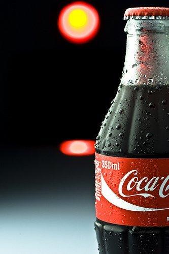 Botella de Coca-Cola fresca