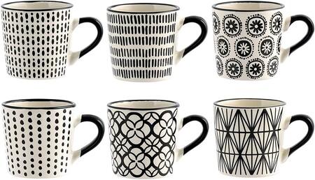 Juego de café en blanco y negro