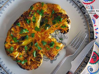 Filete de coliflor asada al horno. Receta saludable