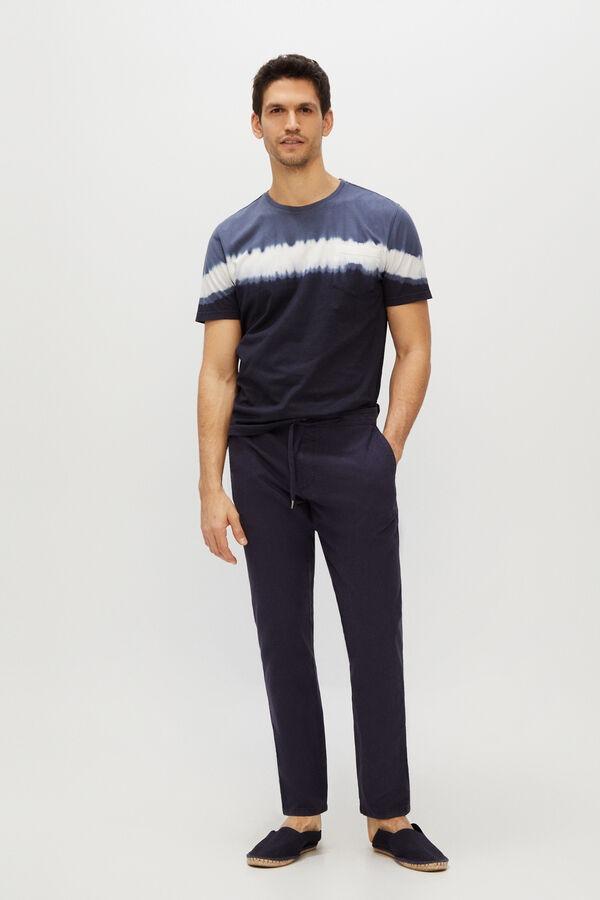 Pantalón lino cintura elástica slim